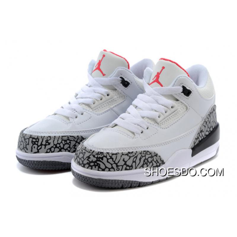 reputable site 775f8 5dad6 Kids Jordan 3 Cement White Red Shoes Discount