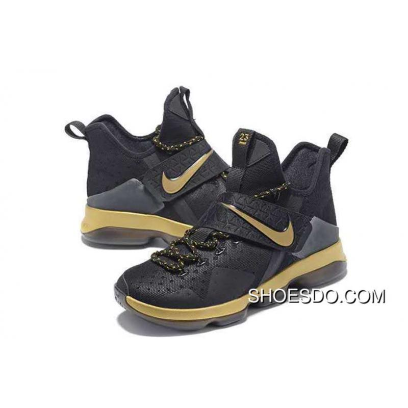Men Nike Lebron 14 Black Gold Shoes Cheap To Buy