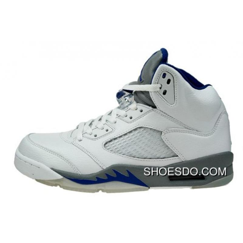 Authentic Air Jordan 5 Retro White Sport Royal Stealth Shoes